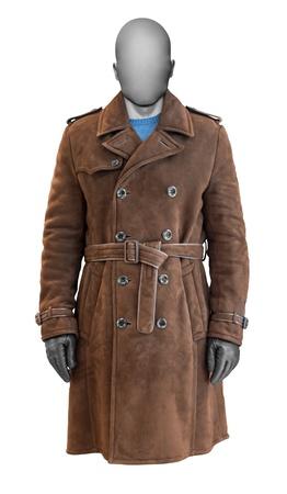 suede belt: Lujo abrigo de cuero marr�n masculino aisladas sobre fondo blanco Foto de archivo