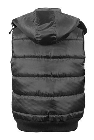 Back side view of black male winter vest isolated on white background