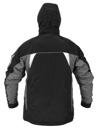 Back view of black male sport jacket with hood isolated on white background Stock Photo
