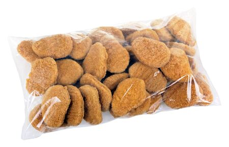 cellophane: Pack with ready-to-cook meat nuggets isolated on white background