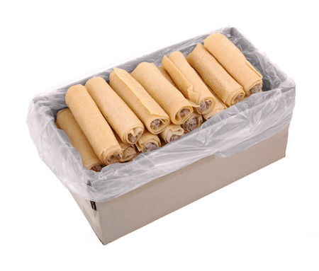 semi finished goods: Pack with ready-to-cook meat rolls isolated on white background