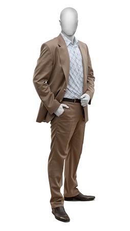 Luxury brown male suit isolate on white background photo