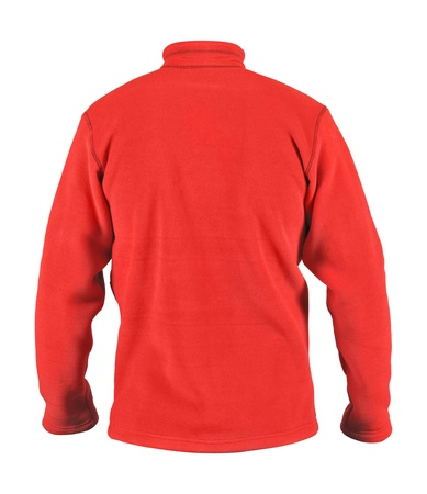 fleece: Back side view of male red fleece sport jacket isolated on white background