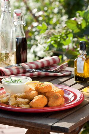 nuggets: Summer time  Table with fried chicken, salad and vegetables