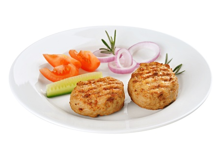 obody: Fried meatballs decorated with cucumber, tomato and onion