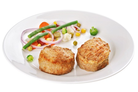 obody: Fried meatballs decorated with asparagus, onion and carrot Stock Photo