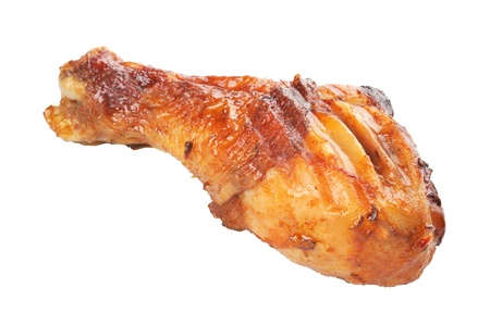 Roasted chicken drumstick isolated on white background Stock Photo - 16483771