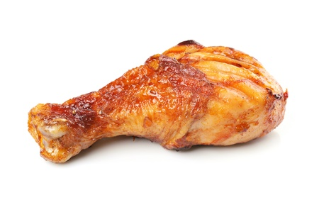 chicken leg: Roasted chicken drumstick isolated on white background Stock Photo