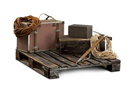equipment for climbers with luggage on wooden pallet Stock Photo