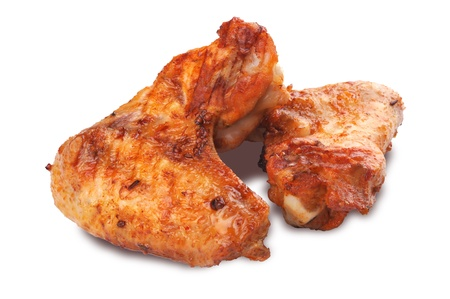 Roasted chicken wings isolated on white background