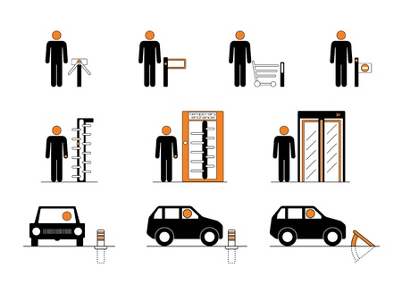bump: Equipment for entrance control such as turnstiles, revolving doors and road blockers Illustration