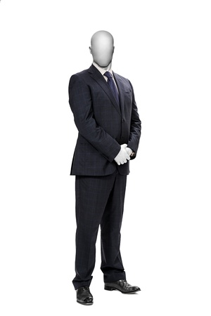 Luxury black male suit with gridded texture isolate on white background