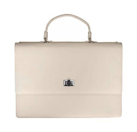 White luxury female handbag isolated on white background Stock Photo - 18387052
