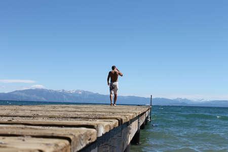 tahoe: Walk on the pier Tahoe Stock Photo