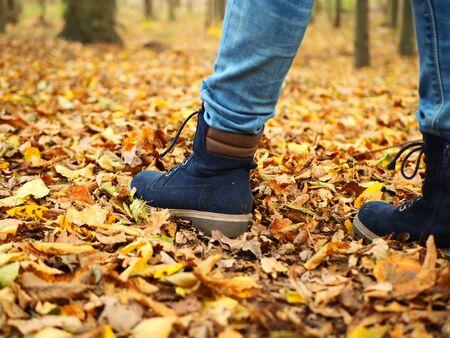 Jesienny park, młoda dziewczyna, chodząca między jesiennymi żółto-pomarańczowymi liśćmi