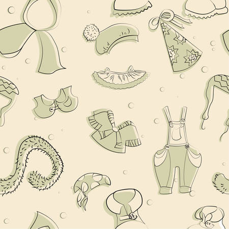 boas: Clothing drawn vector. Seamless texture.