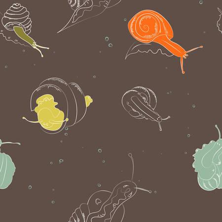 달팽이와 껍질의 원활한 벡터 패턴. 갈색 배경에 달팽이와 텍스처입니다. 일러스트