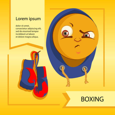 touching noses: Vector smiley. A cute little creature. Expresses emotions. Boxing.