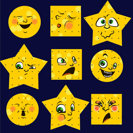 expresses: Vector smiley. A cute little creature. Expresses emotions.