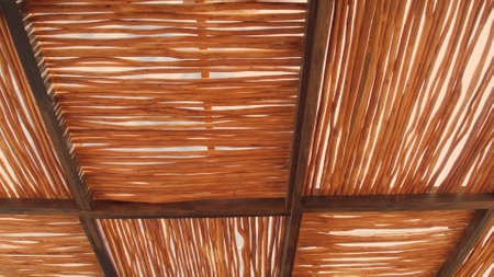 Rural house roof made of cogon grass,thatch roof background,Basketwork,Straw pattern roof background and texture