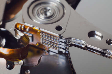 information medium: Closeup of an open computer hard drive Stock Photo