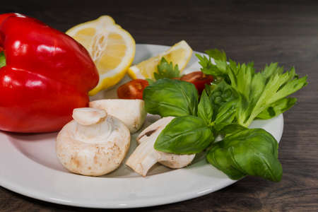 champignons: Parsley, lemon, pepper champignons on a plate