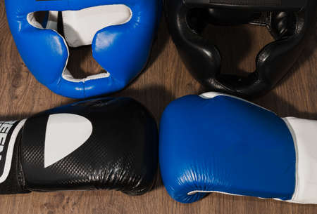Boxers professional outfit on a wooden background
