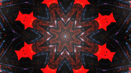 Abstract kaleidoscope background with bright details and elements.