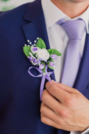 Morning groom, Groom in a jacket, The groom straightens the buttonhole, wedding day