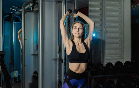Active beautiful fitness model girl trains triceps on the block in the gym. Foto de archivo