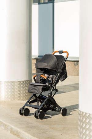 Baby stroller standing on the street, new design.