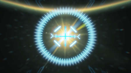 Futuristic HUD sight on an abstract background with highlights