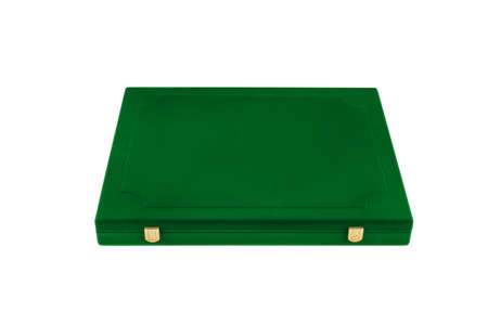 Box of green velvet on white background, isolate. Zdjęcie Seryjne