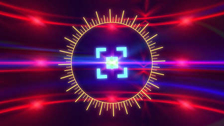 Futuristic HUD sight on an abstract background with highlights.