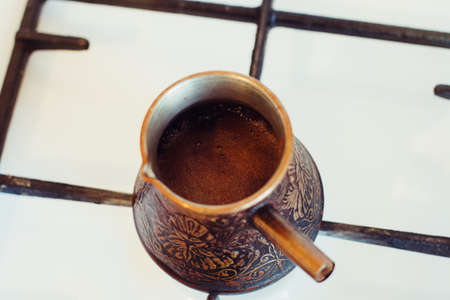Turka with coffee on the gas stove Stockfoto