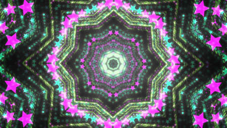 Abstract kaleidoscope background with bright details and elements Banco de Imagens