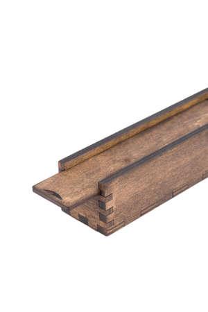 Original wooden box for handmade ballpoint pen on a white background.
