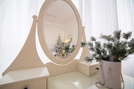 Beautiful New Years interior of the studio. New Year 2020