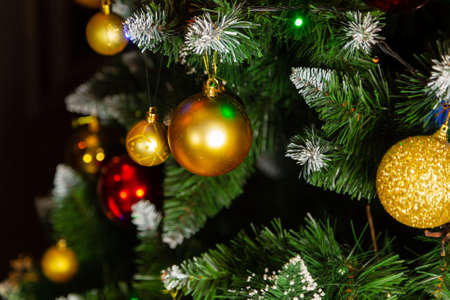 Beautiful green christmas tree with decorations. New Year 2020 Imagens