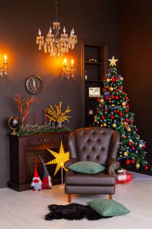 Beautiful New Years interior of the studio. New Year 2020.
