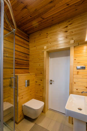 Modern interior of combined shower and toilet. Archivio Fotografico - 134555583