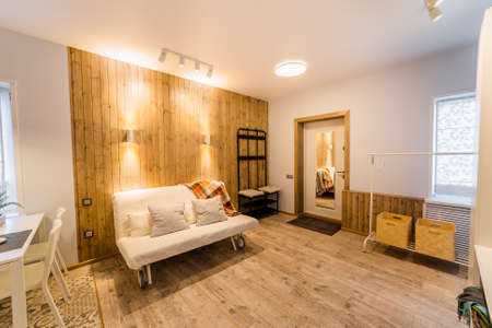 Beautiful modern studio home interior. New design. Archivio Fotografico - 134555591