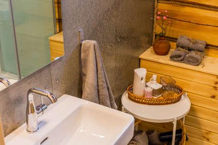Washbasin in the bathroom. Modern interior design. Archivio Fotografico - 134555529