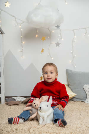 Beautiful happy boy in a New Year's decor. Happy Merry Christmas 2020 Archivio Fotografico - 134555387