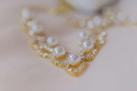Beautiful wedding accessories of the bride. Happy wedding day.