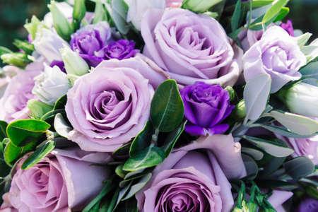 Beautiful wedding bouquet of fresh fresh flowers.