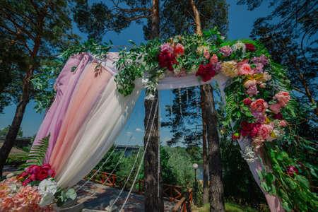 Beautiful decoration with vivid flowers of marriage registration. 版權商用圖片