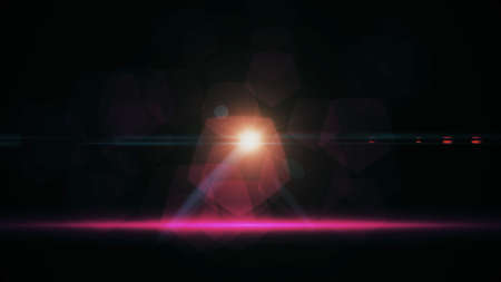 Anamorphic lens flare from a photo camera lens. Anamorphic background.