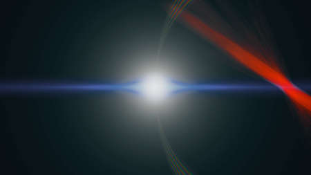 Anamorphic lens flare from a photo camera lens. Anamorphic background