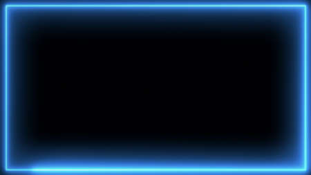 Neon glowing frame on a black background. Banque d'images